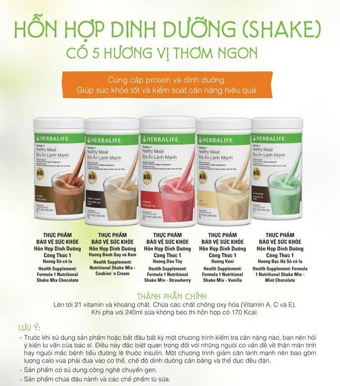 Sữa dinh dưỡng giảm cân herbalife vị quy kem, dâu tây, socola, vani, bạc hà