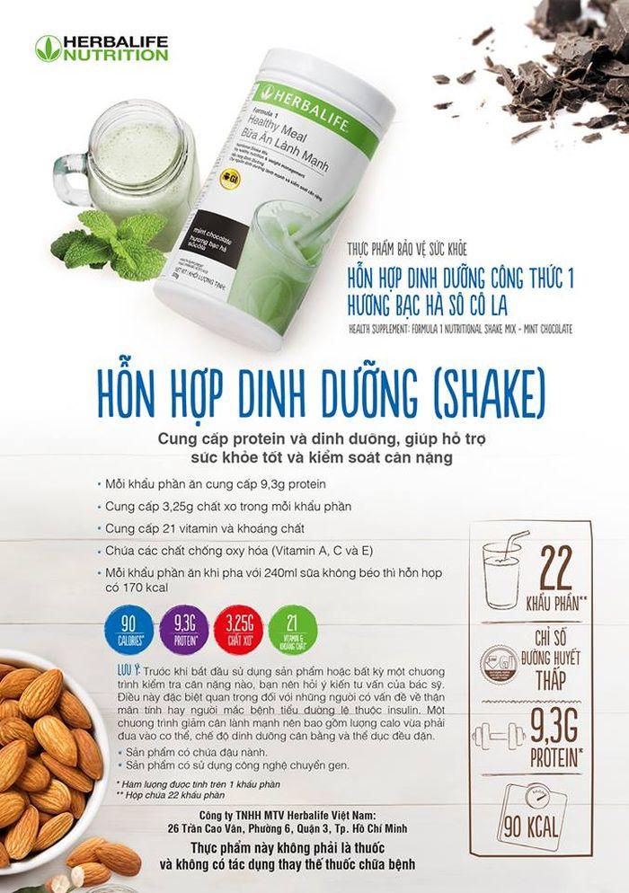 Sữa dinh dưỡng giảm cân herbalife vị quy kem, dâu tây, socola, vani, bạc hà 2